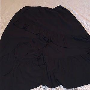 Layered ruffled maxi skirt